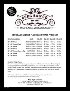 Berg Bag Vintage Flour Sack Towel Price List
