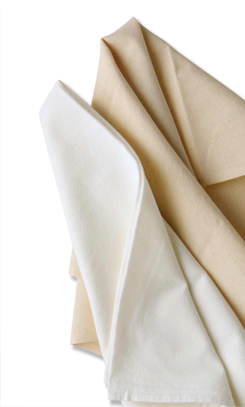 natural and white tea towels